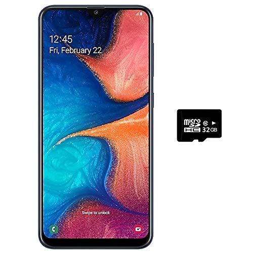 Samsung Galaxy A20 (32GB + 32GB SD Bundle) 6.4' Fast Charge 4000mAh Battery US+Global 4G LTE Dual SIM GSM Unlocked A205G/DS International Model(Blue)