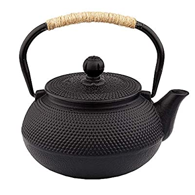 Cast Iron Tea pot, Japanese Tetsubin Tea Kettle Durable Cast Iron Teapot with Tea strainer and a Fully Enameled Interior (900ml)