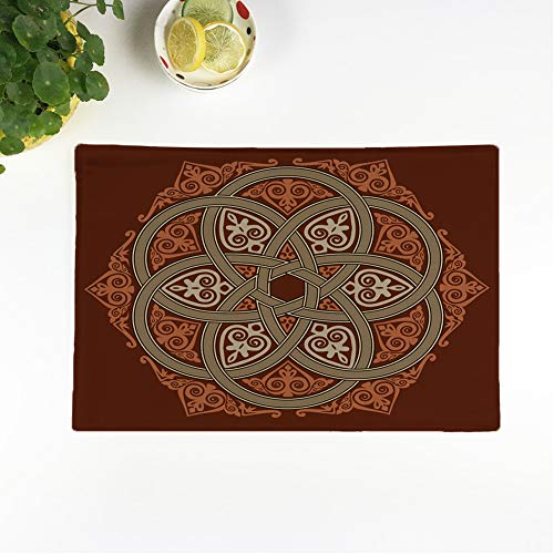 rouihot Set of 4 Placemats Celtic Old Rosette Interweaving Circle Irish Cross Border Tribal 12.5x17 Inch Non-Slip Washable Place Mats for Dinner Parties Decor Kitchen Table