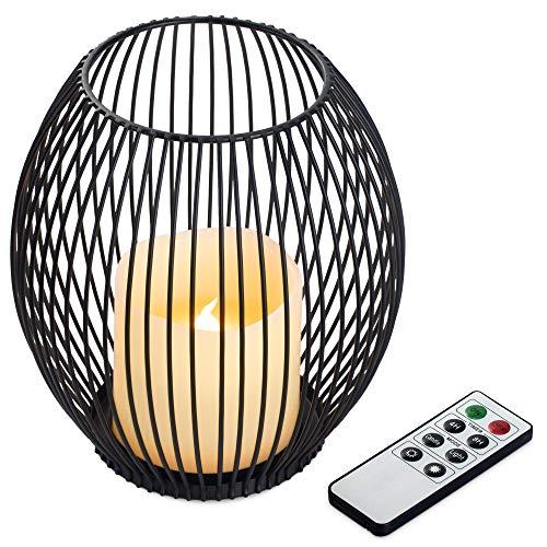 Navaris Metall Kerzenhalter mit LED Wachskerze und Fernbedienung - dimmbar - mit Timer und Flacker Effekt - Kerzenständer mit LED Kerze - Größe S