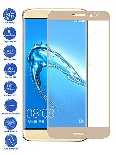 Todotumovil Protector de Pantalla Huawei Nova Plus 5.5 Dorado Completo 3D Cristal Templado Vidrio Curvo para movil