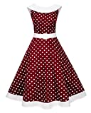 Reshe Women Short 50s 60s Retro Swing Cocktail Dress Knee Length Casual Clothes (Wine S) (Apparel)