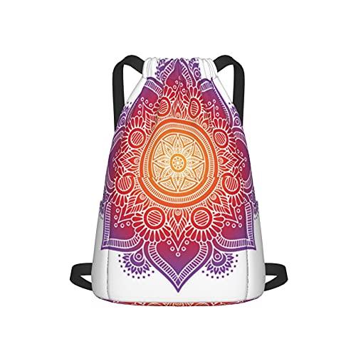 Sac à dos de sport avec cordon de serrage et coussin de méditation avec motif mandala Unisexe Sac à dos de voyage avec poche latérale pour gym, shopping, sport, yoga