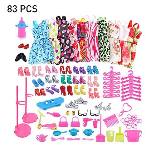 Puppen-Kleidungs-Set für Barbie-Puppen, inkl. Schuhe, süßes Kleid, Geschirr Outfits für Barbie-Puppen, Zubehör für Mädchen, Geburtstagsparty, Geschenk