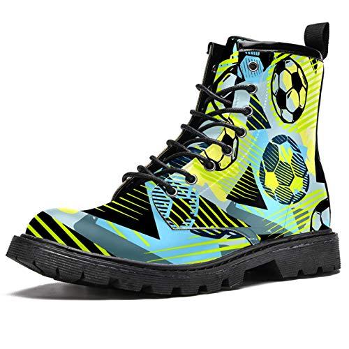 Botas de fútbol en colores con estampado de raspaduras botas de invierno para mujeres y niñas, botas de nieve cálidas de tobillo alto con cordones para la escuela, color Multicolor, talla 38.5 EU