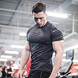 B/H Compresión de Manga Corta,Fitness Coach Sports t-Shirt, High-Elastic Training Quick-Drying Clothes-Black_XL
