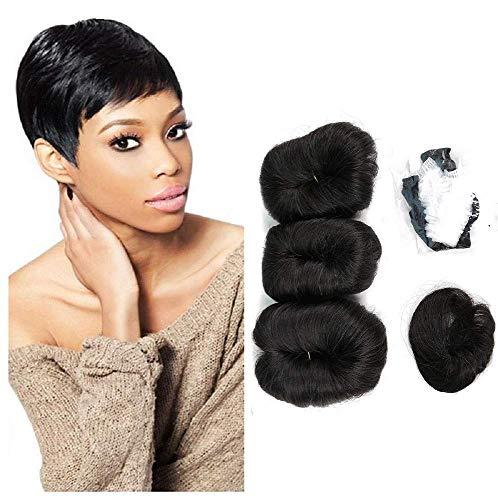 27 Pieces Short Weave Human Hair with Free Part Closure Brazilian Virgin Hair Extension Weave Pixie Cut wig 1B#