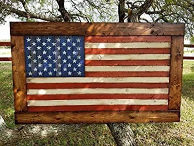 """Rustic Wooden American Flag with Chestnut frame (26""""x44"""") from"""