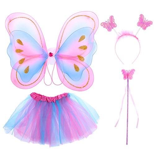 Tinksky 4pcs niños princesa de hadas mariposa ala varita diadema falda tutú fiesta traje de...
