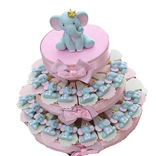 Elefantino Bimba Magnete con Corona Torta Bomboniere Nascita Pensierini Primo Compleanno Originali Bimba (Torta da 35 Pezzi)