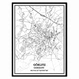 Görlitz Deutschland Karte Wandkunst Leinwand drucken