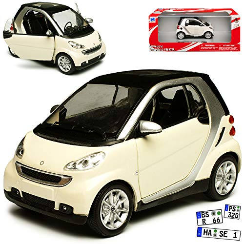 New Ray Smart ForTwo C451 2 Türer Beige Weiss 2007-2015 1/24 Modell Auto