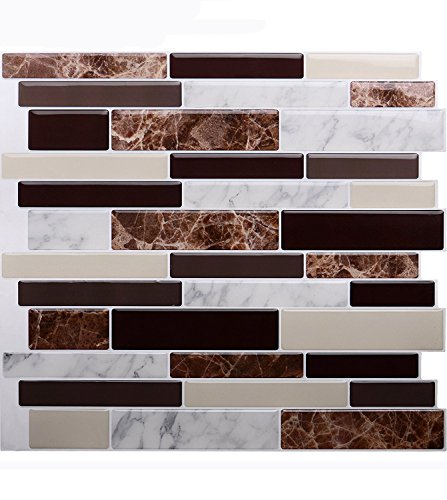 "STICKGOO Premium Anti Mold Peel and Stick Tile Backsplash, Stick On Backsplash Wall Tiles for Kitchen & Bathroom-Removable, Self adhesive-10.62""x 10"" (6 Sheets)"