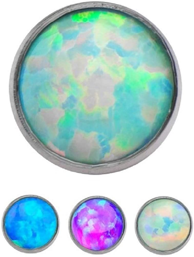 Set of 3 Synthetic Opal Max 80% OFF Elegant Internally Derma Round Titanium Threaded