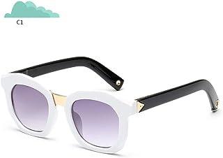 QPRER - Gafas De Sol,Blanco Cuadrado Verano Moda Niños Calle Gafas De Sol Anti-UV Niñas Playa Bonita Niños Viento Y Polvo Gafas IR De Compras Gafas Recuerdo Regalo