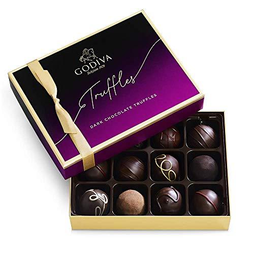 Godiva Chocolatier Dark Chocolate Truffles Assorted Chocolate Gift Box, 12-Ct.