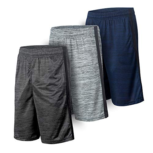Essential Elements 3 or 5 Pack: Men's Active Quick-Dry Lightweight Workout Gym Basketball Shorts with Pockets