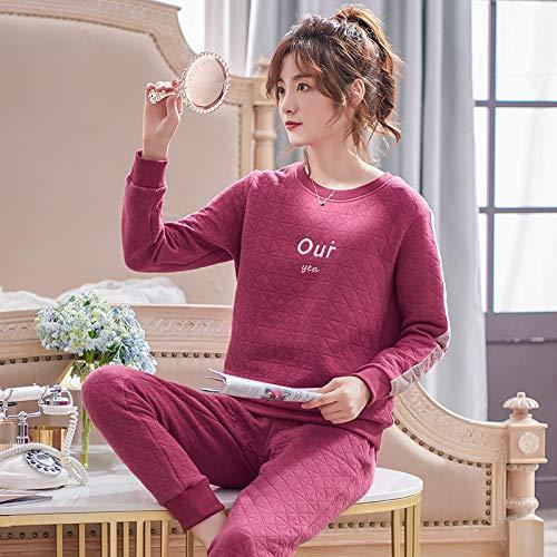 Otoo Invierno Mujeres Delgadas 3 Capas Acolchadas Ropa de Hogar Pijamas de Algodn con Letras Conjuntos de Pijamas de Saln para Mujeres Ropa de Dormir L.