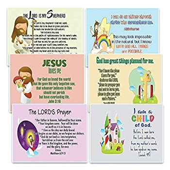 NewEights Christian Postcards Cards for Kids Boys Girls  30-Pack  - Scripture Bible Verses - Psalm 23 - Great Stocking Stuffers for Easter Baptism Thanksgiving Christmas Sunday School - Prayer Cards