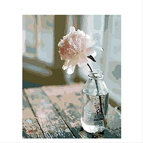 BPAINTF Målning efter nummer DIY Blommor Väntar Blomma Blomma Canvas Bröllop Dekoration Konst Bild Gåva 76 Beställningar 50 x 65 cm DIY inramad