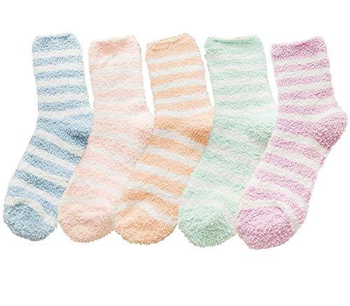 Durio Kuschelsocken Damen Wintersocken Warme Flauschige Weihnachtssocken Fuzzy Sock G 5 Paare Streifen