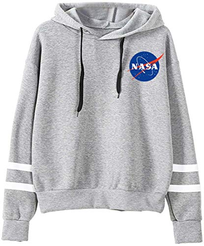 EMILYLE Damen NASA Sweatshirt National Space Administration Logo Streifen Druck Jumper (S, Grau)