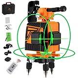 OMMO 3x360° レーザー墨出し器 12ライン グリーン レーザー 大矩 フルライン 高輝度 高精度 IP54防塵防水 自動水平補正モード 傾斜モード 収納ケース付き (オレンジ)