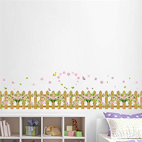Frisse kleur Hout Hek Bloem Vlinder Tuin Klaver Rokken Lijn Flora DIY Home Decal Muursticker Slaapkamer Muur Kunst