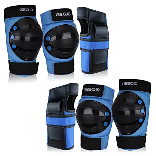 GEQID adult Youth Kids Knee Pads Elbow Pads Wrist Guards 3 in 1 Protective Gear Set for Skating skateboard Inline skates rollerblade Bicycle men or women