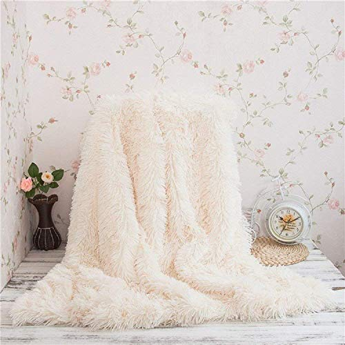 Monthly Super Soft Long Shaggy Throw Blanket Faux Fur Warm Elegant Cozy With Fluffy Blanket Bedspread Suitable for Sofa or Bed (White, 130 * 160)