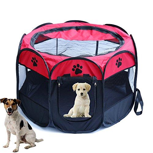MFU Tenda per Animali Domestici Stabile, Cucciolo Pieghevole/Gatto Piccolo Animale/casa (S, Nero+Rosso)