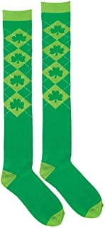 St. Patrick's Day Argyle Over The Knee Green Socks | Party Accessory I 6 Ct