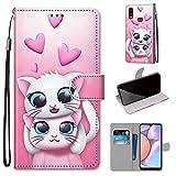 Miagon Flip PU Leder Schutzhülle für Samsung Galaxy A10S,Bunt Muster Hülle Brieftasche Case Cover Ständer mit Kartenfächer Trageschlaufe,Katze Liebhaber -