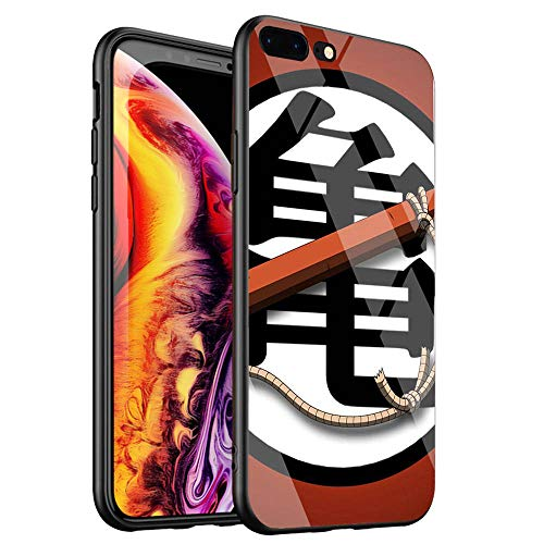 DTYZL - Cover posteriore in vetro temperato per iPhone 7/8, con struttura in silicone TPU per resistenza ai graffi e alle cadute DT-136 Dragon Ball Z DBZ Goku