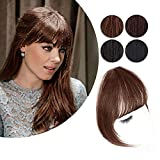 AISI BEAUTY Clip in Bangs Real Human Hair Extensions Light Brown Bangs Hair Clip in Fringe Straight Flat Bangs with Temples for Women (French bang, French bang-Medium brown)