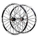 ZHTY Ruedas de Bicicleta MTB, 26 Pulgadas Juego de Ruedas de Ciclismo de montaña Ultraligero de Doble Pared Freno de Disco Llanta híbrida 24 Agujeros 7 8 9 10 Velocidad