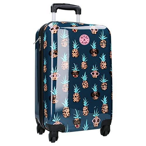 Milky Kiss - Valise à Roulettes pour Filles - Motif Ananas - Bleu et Marron - 55 cm