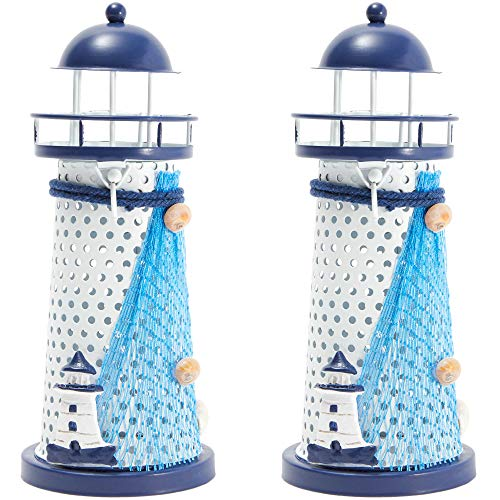 Juvale Metal Lighthouse Decor with Candle Holder (2 Pack)