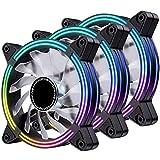EZDIY-FAB 120mm Rainbow RGB LED Fans for CPU Fan, LED Effect Case Fan