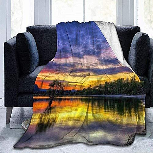 balaclava Beautiful Dusk Lake - Manta de franela ultrasuave