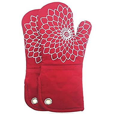 Heat Resistant Kitchen Oven Mitt With Non-Slip Silicone Printed, Set Of 2 Oven Gloves for BBQ cooking baking, Grilling, Barbecue,microwave, Machine Washable.(Red)