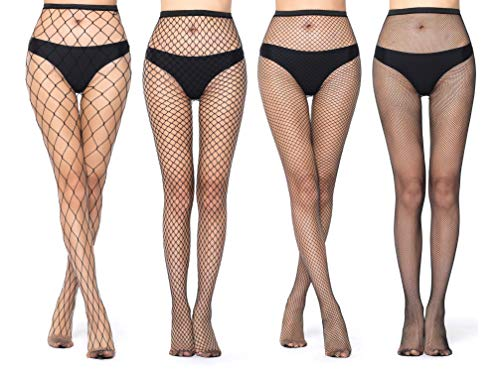 High Waist Tights Fishnet Stockings Thigh High Pantyhose for Women Sexy Fishnet Leggings Stockings Black (Black-4pairs, One size)