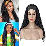 Headband Wigs for black women Long Water Wave wig None Lace Front Wigs, Machine Made African American Curly Headband Half Wig (24inch, #1B)
