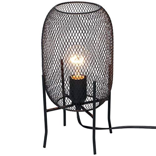 Lámpara de mesa de metal E27, altura 29 cm, color negro, diseño industrial, lámpara de mesita de noche, lámpara decorativa