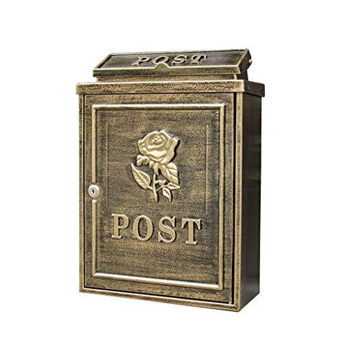 CS Anti-oude Rose Letters Box Villa Outdoor brievenbus muur opknoping waterdichte doos gegoten aluminium brievenbus