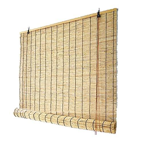 YAHAO Bambus-Jalousien für den Außenbereich, Retro-Bambus-Rollo, natürlicher Schilfrohr, UV-Schutz, Sonnenschutz, Bambus-Roman-Latten für draußen, Terrasse, Tür, B 81 x H 203 cm