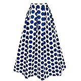 TiaoBug Femme Jupe Longue Plissée A-Line Élégante Maxi Jupe Taille Haut Classique Rétro Jupe Blanc à Pois Bleu S-2XL Blanc & Bleu S