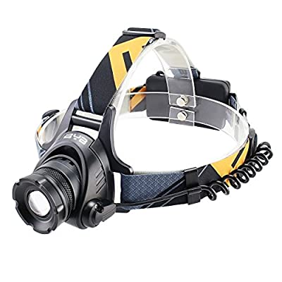 BYB Zoomable 3 Modes 1200 Lumens T6 LED Headlamp with Rechargeable Batteries and Wall Charger for Biking Camping Hunting Running