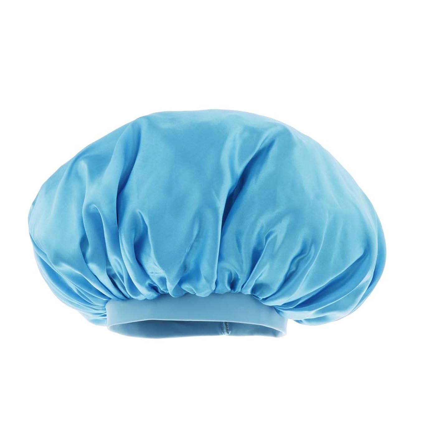 受け入れ離婚櫛シャワー キャップ サテン 美容 キャップ ヘアキャップ スリープキャップ 全6色 - 空色