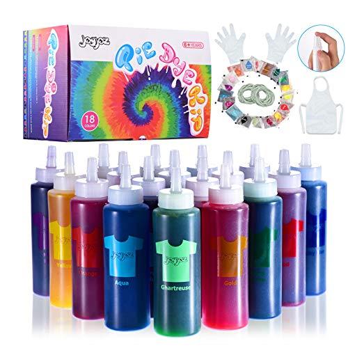 Joyjoz Tie Dye Kit, 18 Farben Tie Dye Permanent Set mit 32 Pigmentbeuteln, Gummibändern, Handschuhen, Schürze und Tischdecken für Craft Arts Fabric Textile Party DIY Handmade